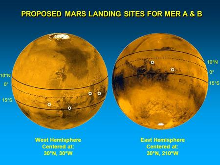 PROPOSED MARS LANDING SITES FOR MER A & B West Hemisphere Centered at: 30°N, 30°W East Hemisphere Centered at: 30°N, 210°W 10°N 15°S 0° O OO O O 10°N 15°S.