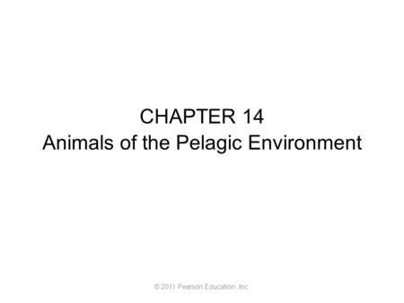 © 2011 Pearson Education, Inc. CHAPTER 14 Animals of the Pelagic Environment.