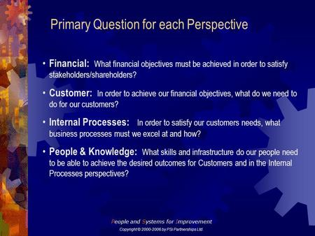 Primary Question for each Perspective Financial: What financial objectives must be achieved in order to satisfy stakeholders/shareholders? Customer: In.