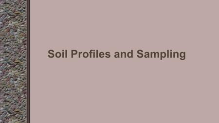 Soil Profiles and Sampling. Objective 5.02 Discuss the soil profile and soil sampling for surface and subsurface layers.