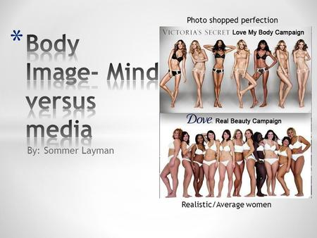 By: Sommer Layman Photo shopped perfection Realistic/Average women.