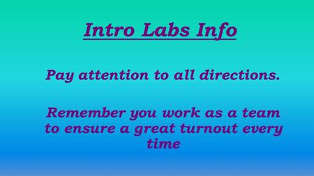 Intro Labs Info Pay attention to all directions. Remember you work as a team to ensure a great turnout every time.