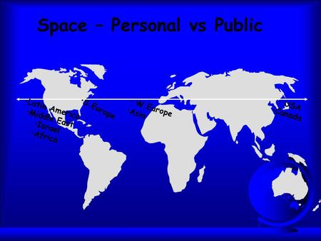 Space – Personal vs Public Latin America Middle East Israel Africa S.Europe W.Europe Asia USA Canada.