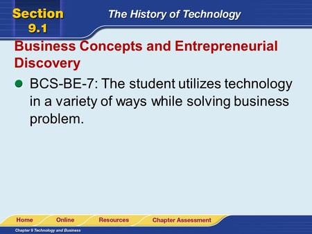 Business Concepts and Entrepreneurial Discovery BCS-BE-7: The student utilizes technology in a variety of ways while solving business problem.
