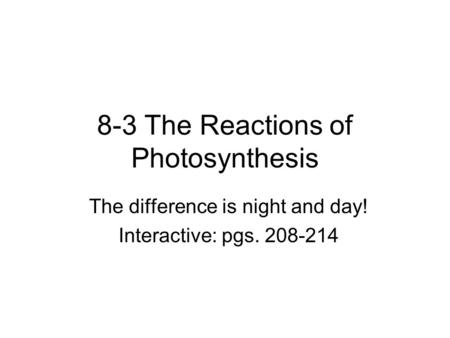 8-3 The Reactions of Photosynthesis The difference is night and day! Interactive: pgs. 208-214.
