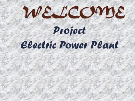 WELCOME Project Electric Power Plant. Electric Power Plant Electric Power Plant.This is the age of Technology. In this age there is no place where we.