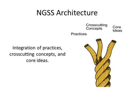 Integration of practices, crosscutting concepts, and core ideas. NGSS Architecture.