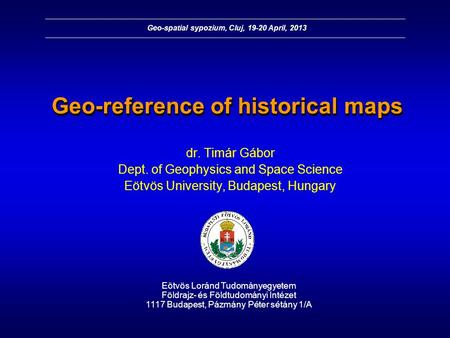 Geo-reference of historical maps