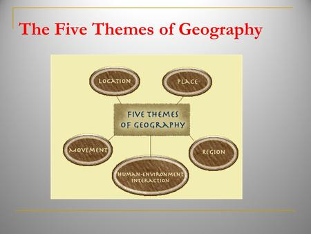 The Five Themes of Geography. geography The study of Earth.