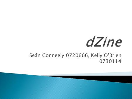 Seán Conneely 0720666, Kelly O'Brien 0730114.  The companies main aim is to create striking bold recognisable graphics for individuals.  The company.