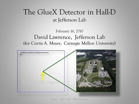 The GlueX Detector in Hall-D at Jefferson Lab February 16, 2010 David Lawrence, Jefferson Lab (for Curtis A. Meyer, Carnegie Mellon University) July 7,