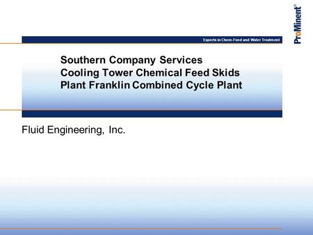 Experts in Chem-Feed and Water Treatment Fluid Engineering, Inc. Southern Company Services Cooling Tower Chemical Feed Skids Plant Franklin Combined Cycle.