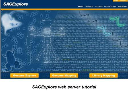 SAGExplore web server tutorial. The SAGExplore server has three different modules …
