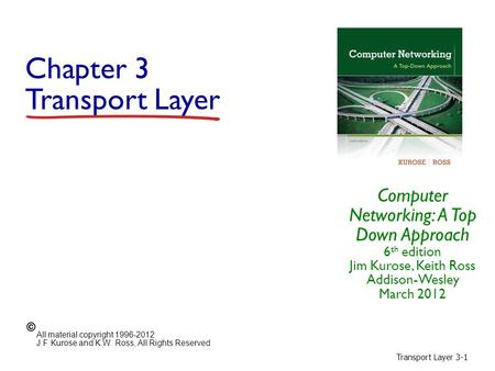 Transport Layer 3-1 Chapter 3 Transport Layer Computer Networking: A Top Down Approach 6 th edition Jim Kurose, Keith Ross Addison-Wesley March 2012 All.