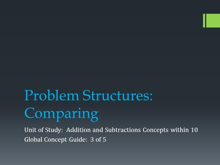 Problem Structures: Comparing Unit of Study: Addition and Subtractions Concepts within 10 Global Concept Guide: 3 of 5.