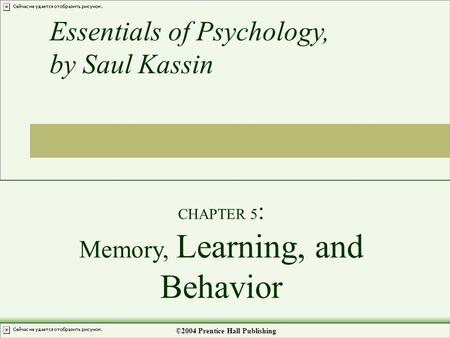 CHAPTER 5 : Memory, Learning, and Behavior Essentials of Psychology, by Saul Kassin ©2004 Prentice Hall Publishing.