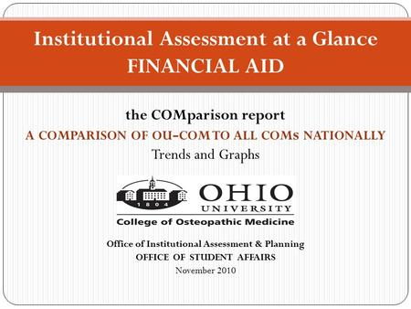 The COMparison report A COMPARISON OF OU - COM TO ALL COM s NATIONALLY Trends and Graphs Office of Institutional Assessment & Planning OFFICE OF STUDENT.