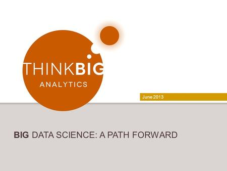 June 2013 BIG DATA SCIENCE: A PATH FORWARD. CONFIDENTIAL | 2   Data Science Lead.