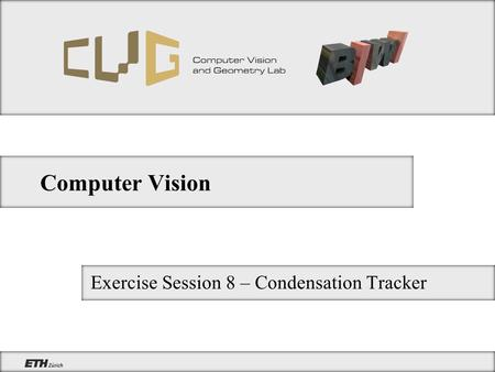 Computer Vision Exercise Session 8 – Condensation Tracker.