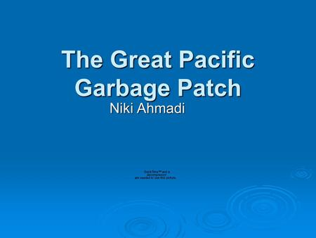The Great Pacific Garbage Patch Niki Ahmadi. What is it?  A wide range of mostly confetti sized pieces of trash floating together in a large mass in.