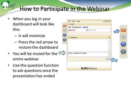 How to Participate in the Webinar When you log in your dashboard will look like this: – It will minimize – Press the red arrow to restore the dashboard.