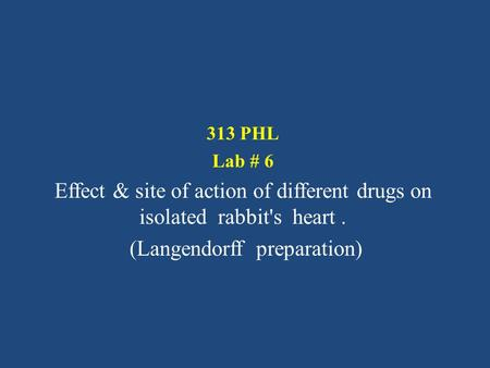 313 PHL Lab # 6 Effect & site of action of different drugs on isolated rabbit's heart. (Langendorff preparation)
