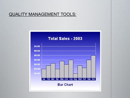 QUALITY MANAGEMENT TOOLS:. Bar Charts are a efficient way to compare classes or groups of data. A class or group can have a single category of data or.