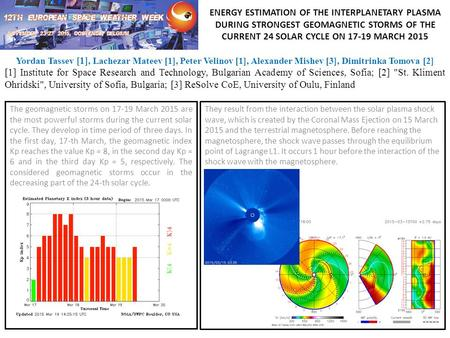 ENERGY ESTIMATION OF THE INTERPLANETARY PLASMA DURING STRONGEST GEOMAGNETIC STORMS OF THE CURRENT 24 SOLAR CYCLE ON 17-19 MARCH 2015 The geomagnetic storms.