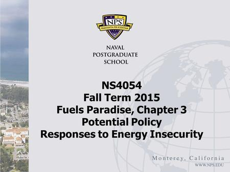 NS4054 Fall Term 2015 Fuels Paradise, Chapter 3 Potential Policy Responses to Energy Insecurity.