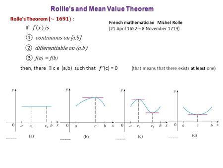 Rollle's and Mean Value Theorem French mathematician Michel Rolle (21 April 1652 – 8 November 1719)