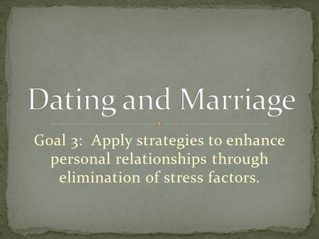 Goal 3: Apply strategies to enhance personal relationships through elimination of stress factors.