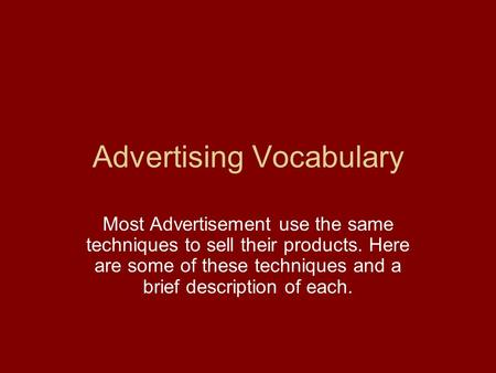 Advertising Vocabulary