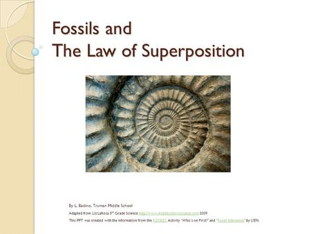 Fossils and The Law of Superposition By L. Badino, Truman Middle School Adapted from Liz LaRosa 5 th Grade Science  2009http://www.middleschoolscience.com.