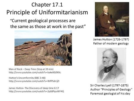 "Chapter 17.1 Principle of Uniformitarianism "" Current geological processes are the same as those at work in the past"" James Hutton (1726-1797) Father of."