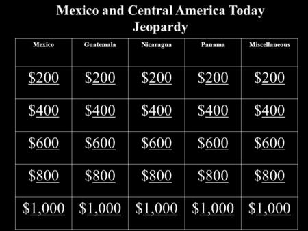 Mexico and Central America Today Jeopardy MexicoGuatemalaNicaraguaPanamaMiscellaneous $200 200$200200$200200$200200 $400400$400400$400400$400400$400400.