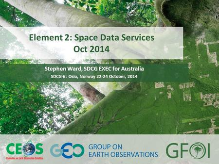 Www.earthobservations.org www.gfoi.org SDCG-6 Oslo, Norway October 22-24, 2014 Element 2: Space Data Services Oct 2014 Stephen Ward, SDCG EXEC for Australia.
