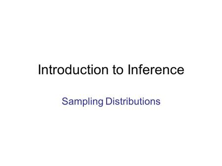 Introduction to Inference Sampling Distributions.