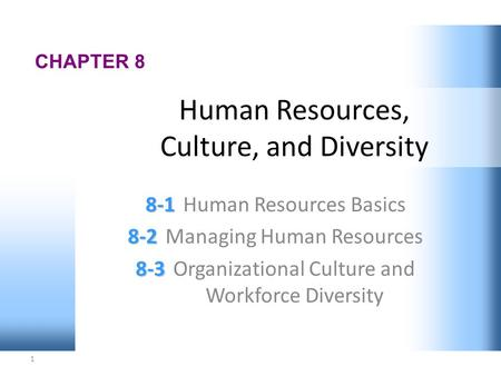 1 CHAPTER 8 8-1 8-1Human Resources Basics 8-2 8-2Managing Human Resources 8-3 8-3Organizational Culture and Workforce Diversity Human Resources, Culture,