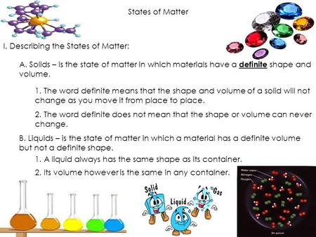 States of Matter I. Describing the States of Matter: A. Solids – is the state of matter in which materials have a definite shape and volume. 1. The word.