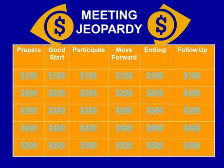 PrepareGood Start ParticipateMove Forward EndingFollow Up $100 $200 $300 $400 $500 MEETING JEOPARDY.