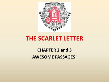 THE SCARLET LETTER CHAPTER 2 and 3 AWESOME PASSAGES!