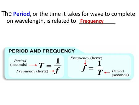 The Period, or the time it takes for wave to complete on wavelength, is related to ____________ Frequency.