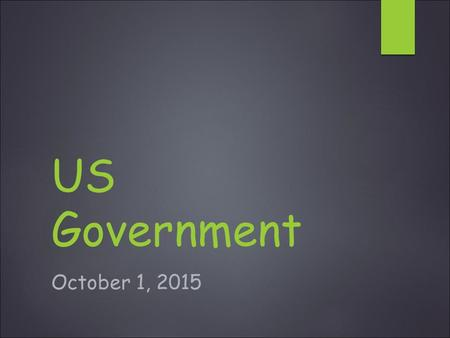 US Government October 1, 2015. Daily Warm-up:10-1-15  Why is it important that there is a division of power that exists between the National Government.