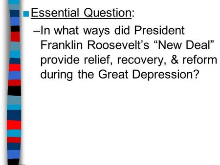 fdrs relief recovery and reform essay