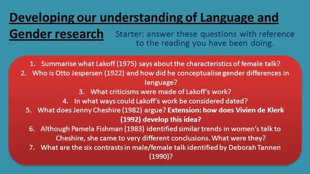 Developing our understanding of Language and Gender research