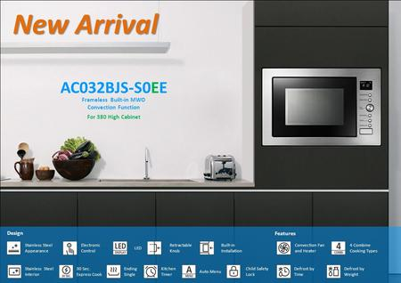 New Arrival AC032BJS-S0EE Frameless Built-in MWO Convection Function Electronic Control Design LED Retractable Knob Built-in Installation Stainless Steel.