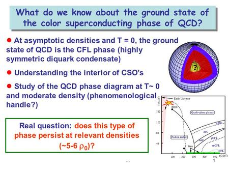 …1 ● At asymptotic densities and T = 0, the ground state of QCD is the CFL phase (highly symmetric diquark condensate) ● Understanding the interior of.
