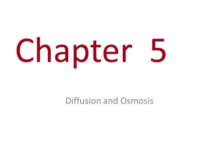Chapter 5 Diffusion and Osmosis. Diffusion – What is it? – Why does it occur? – What is misleading about the way the molecules are drawn in the equilibrium.