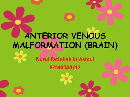 ANTERIOR VENOUS MALFORMATION (BRAIN) Nurul Fatiehah bt Asmui PZM0044/12.