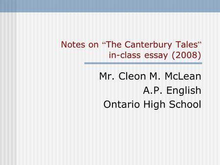 canterbury tales essay questions